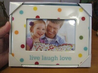 New Sonoma 4x6 Photo Picture Frame White W/ Colored Polka Dots Live Laugh Love - Live Photo Frame
