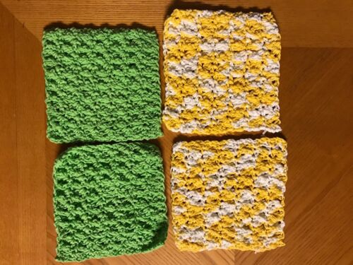 "LOT of 4-6"" Yellow Green COTTON Hand Crochet Dish Cloth/Doilies/Mats DISHCLOTHS"