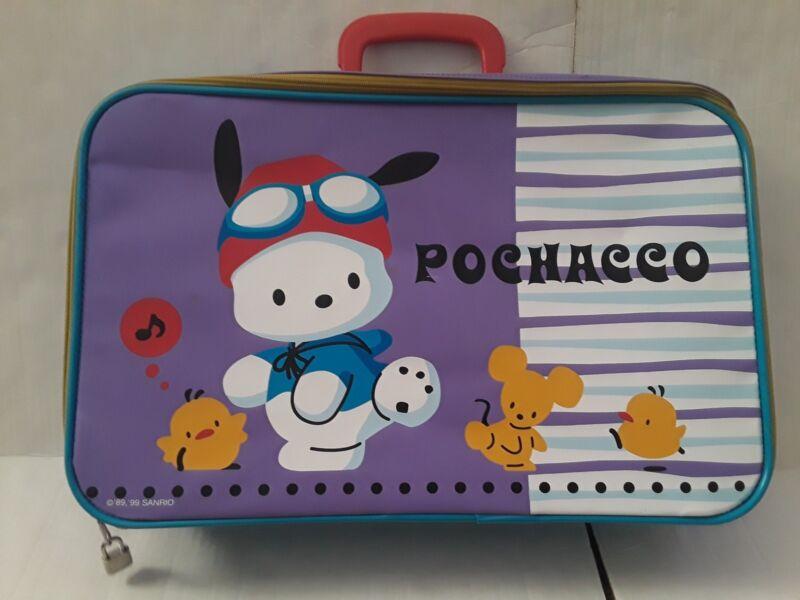 """Sanrio Pochacco Vintage Suitcase Purple Blue 1999 18"""" X 12"""" RARE"""