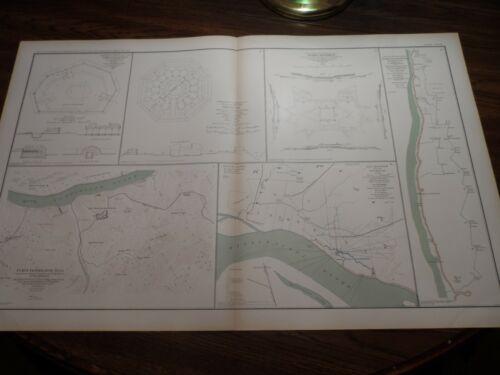 Antique Original Civil War Map Defenses Nashville Fort Pickering Donelson