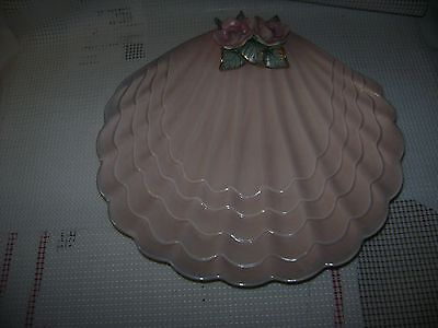 CLAM SHELL dish bowl plate CUERNAVACA MEXICO pink roses art pottery vtg - AS IS
