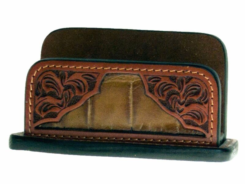 Western Leather Business Card Display/Gator/Tooled
