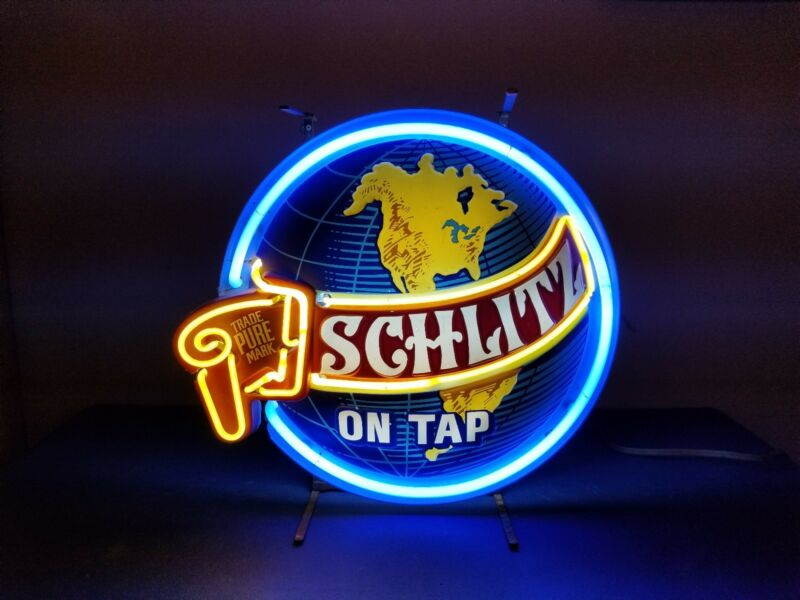 (VTG) 1977 Schlitz beer on tap world globe neon light up sign rare