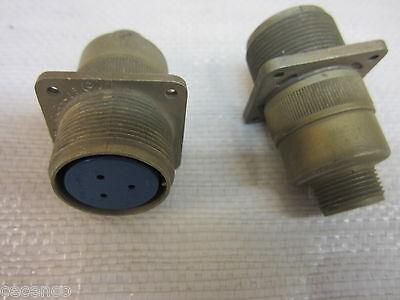 2 Amphenol 97-3100a-20l 14-6s 3-pin Aluminum Female Connectors