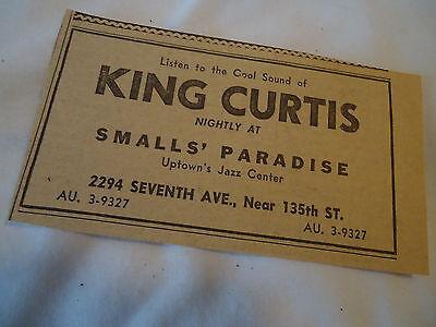 King Curtis - concert Smalls' Paradise NEW YORK  - 1960 newsprint ad