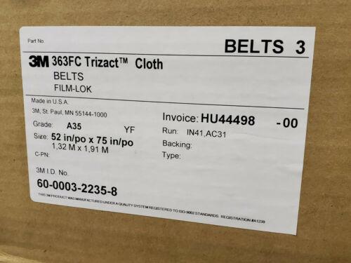 "3M Trizact Cloth Sander Belts 52"" X 75"" Wet/Dry 363FC Grade A35 Timesaver"