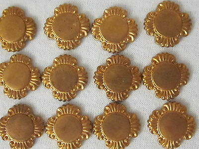 12 ORNATE BRASS CABOCHON STAMPINGS 16mm VTG OLD STOCK FLAT-BACK JEWELRY FINDINGS