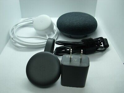Google Home Mini Smart Assistant GA00216-US 1st Gen w/ Google Chromecast 3rd Gen