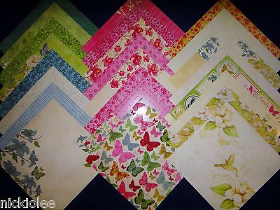 12X12 Scrapbook Paper Cardstock DCWV Magnolia Way Stack Butterfly Florals 24 - Floral Scrapbook Paper