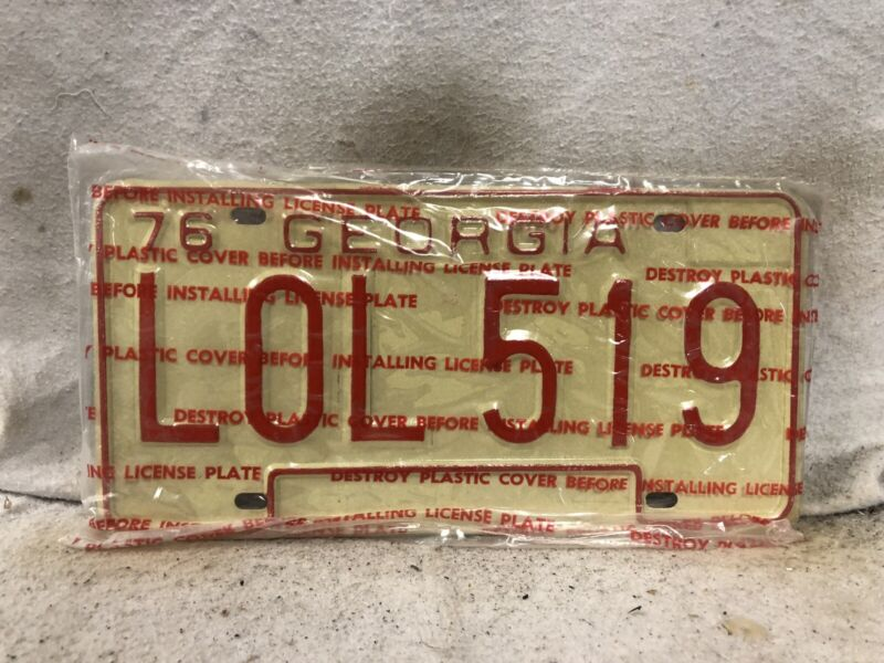 Vintage 1976 Georgia License Plate (IN WRAPPER!!)