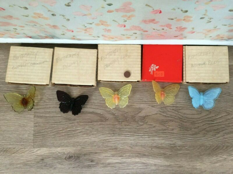 Vintage Butterflies Figures Set of 5 Very Colorful and Beautiful