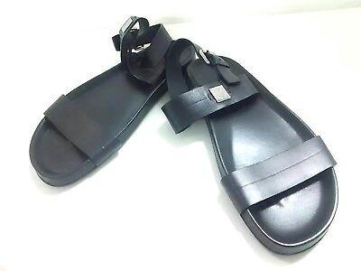 Auth LOUIS VUITTON Black Leather FD0174 Sandals Men