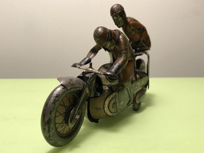 VINTAGE  TIN TOY WINDUP CKO MOTORCYCLE 353 KELLERMAN SOZIUS US ZONE GERMANY 40's