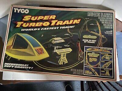 "1986 TYCO ""NITE GLOW"" TURBO TRAINS SET WORLD FASTEST TRAIN w/ 29 Feet of Track"