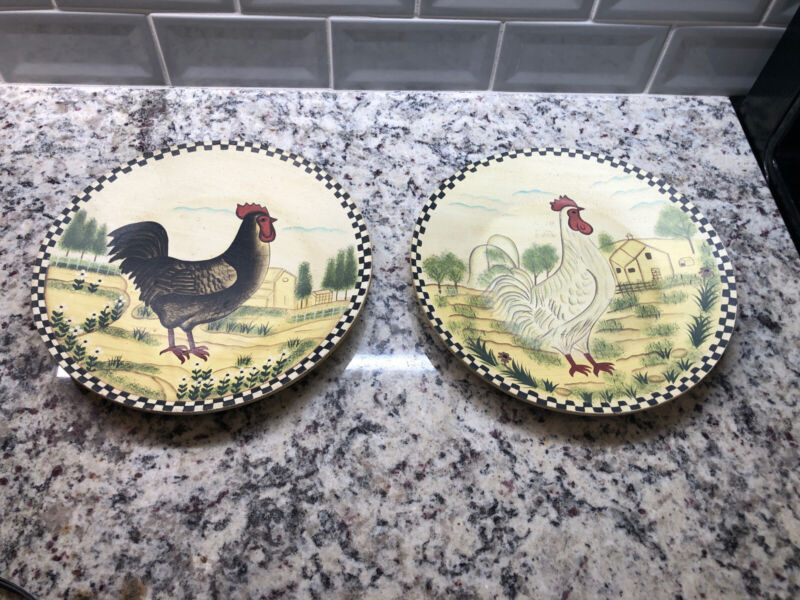 Wood Chicken Plates Farmhouse Rooster Hen