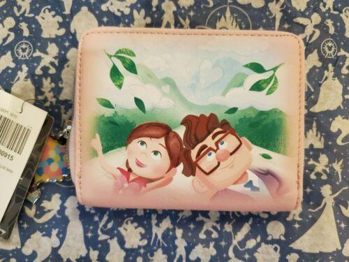 Loungefly Disney Pixar Up Carl & Ellie Mini Zip Wallet Pink NEW