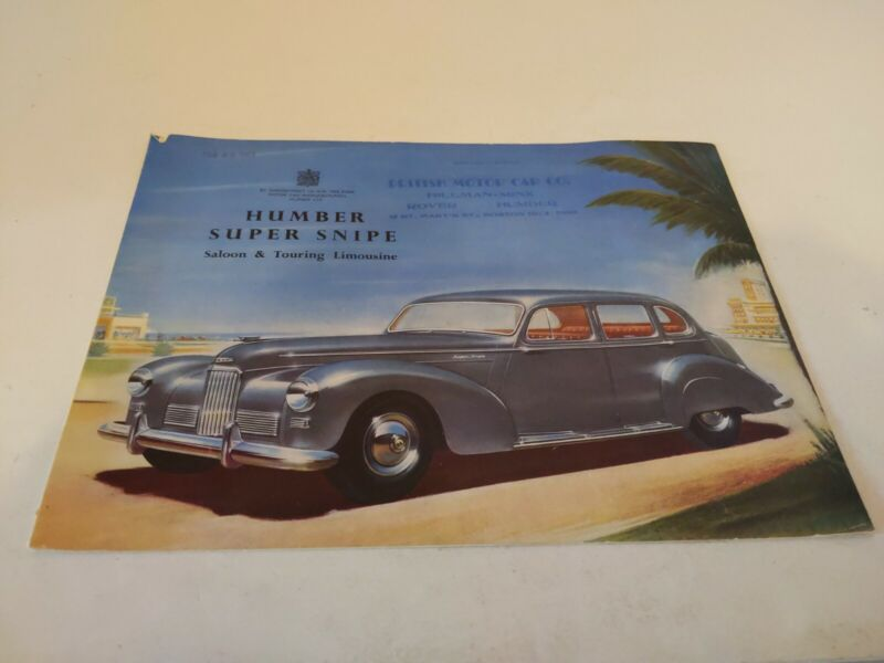 1952 Humber Super Snipe Saloon & Touring Limousine Sales Brochure Catalog