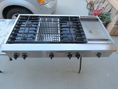 "KITCHENAID ARCHITECT SERIES KGCP484KSS 48"" GAS RANGETOP, GRIDDLE & CHAR-GRILL"