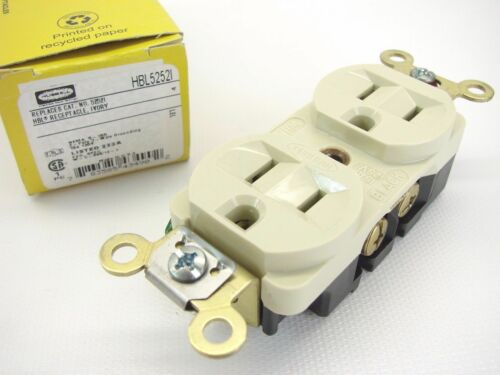 HUBBELL HBL5252I 125 Volt 15 Amp 2P 3W 5-15R Extra Heavy Duty Receptacle outlet