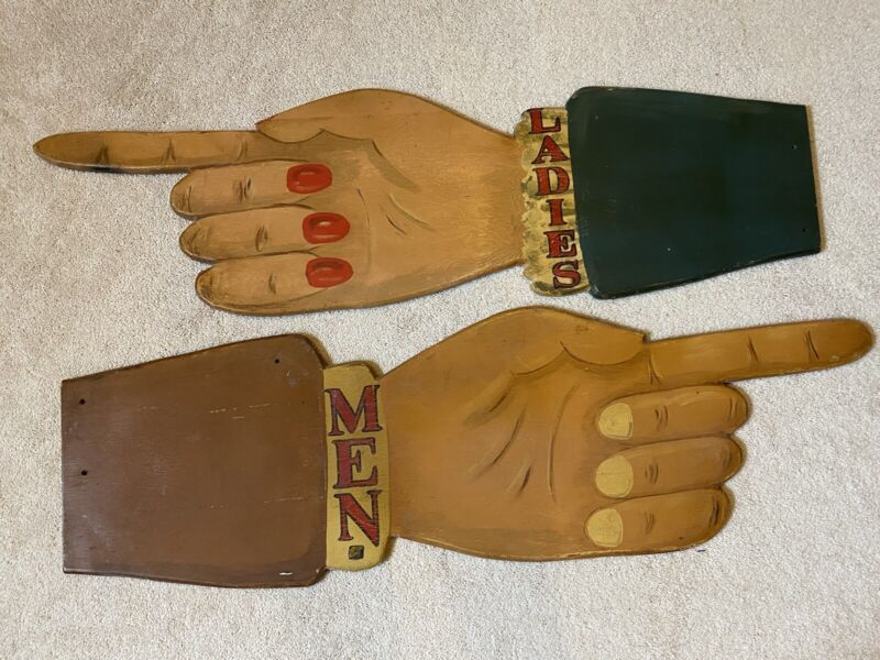 Vintage Restaurant Signs Hand Painted Hands Pointing Finger