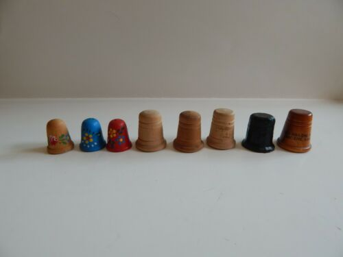 Lot of 8 Wooden thimbles Floral Red Blue Black Kansas Wood