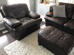 Couch, Chair & Ottoman - Brown Leather