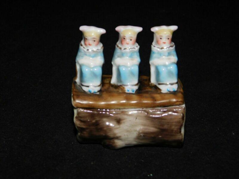 GERMAN BISQUE THREE LITTLE GIRLS TRINKET PILL BOX FREE USA SHIPPING