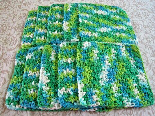 "10 Crochet  Dishcloths / Washcloths 100% Cotton - Handmade - 6 ""- Blue and Green"