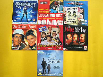 FEATURE FILM DVD SELECTION, DAILY/SUNDAY MIRROR PROMOTIONS  (7 DVD'S)