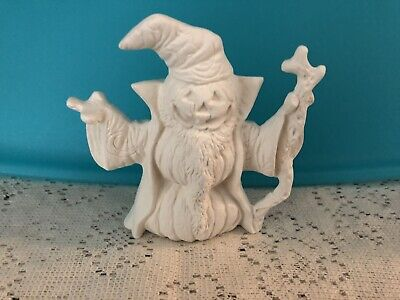 W5 - Small Wizard Pumpkin Ceramic Bisque Ready to Paint, Unpainted, You Pa