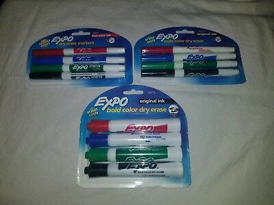 3 Pks 12ct Expo Bold 4-color Dry Erase Markers Free Shipping