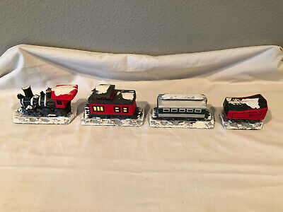 Porcelain 4-piece Train Set for Christmas Village