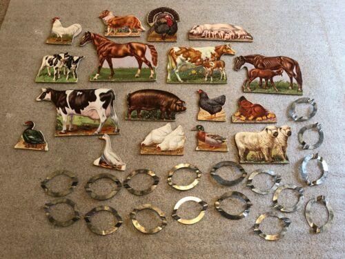 VINTAGE TOY FARM ANIMALS CARDBOARD DIE CUT SET HORSES COWS CHICKENS METAL STANDS