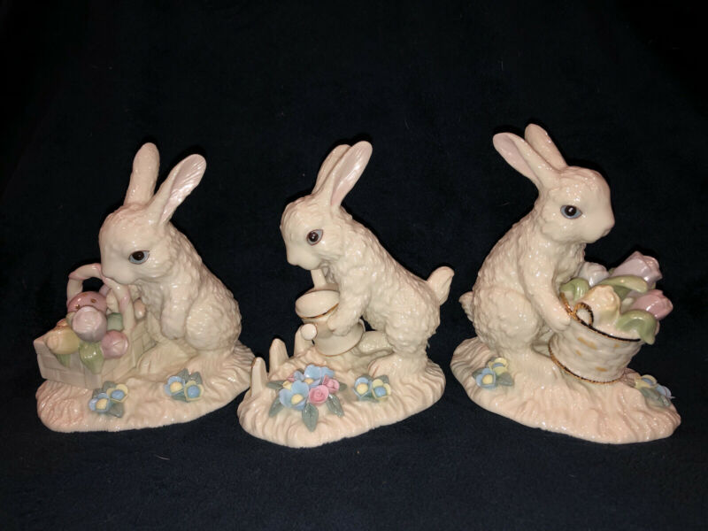 Vintage Lot Of 3 Lenox Porcelain Spring Easter Tulips Bunny Figurines EUC!!