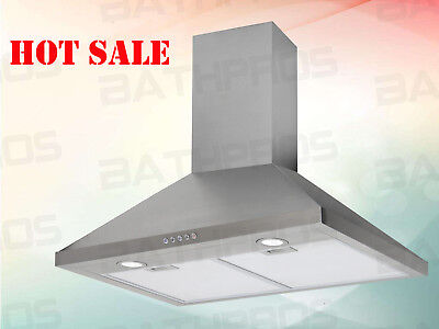 """Led Control Range Hood Stove Vent Fan Stainless Steel 30"""" Wall Mount Panel CFM"""