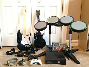 Xbox 360 with Rock band & Guitar hero