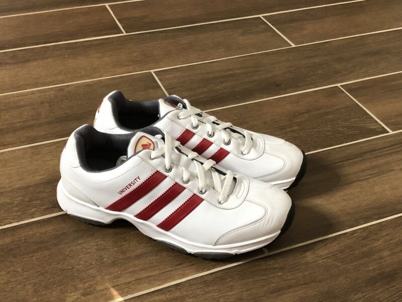 Golf Shoes Adidas University White with Red Stripes Men's Size 9