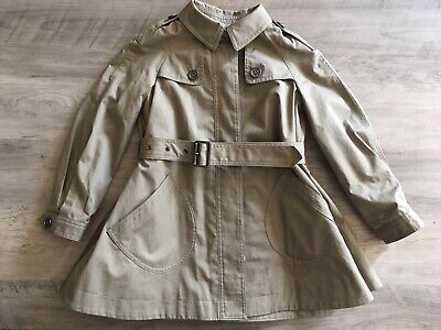 BURBERRY NWOT Authentic Girls' Kids' Jacket Trench Coat Cotton Sage Size 4y