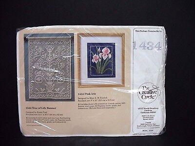 "1988 Creative Circle Needlepoint Kit ""Pink Iris"" 8"" x 10"" Opened Package"