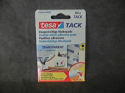 1 Pack = 60 Stück tesa TACK 59400 / Doppelseitige Klebepads, transparent (BR)