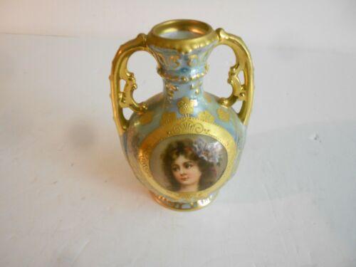 Antique Hand Painted Royal Vienna Austria Female Portrait Vase Early 1900s