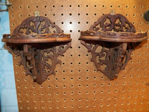 Vintage Pair Of Ornate Hand Carved Wood Wall Shelves, Folding