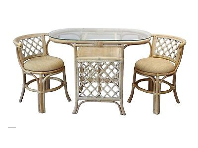 Dining Borneo Set of Oval Table w/ Glass Top an 2 Chairs Handmade Rattan, Cream