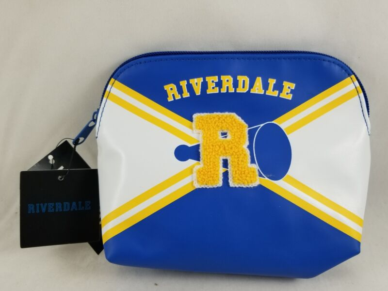 """New Riverdale Varsity Cheer Makeup Bag Faux Leather 3D """"R"""" Hot Topic Exclusive"""