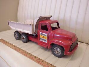 1955-BUDDY-L-Hydraulic-Ford-Dump-Truck-Pressed-Steel-Toy