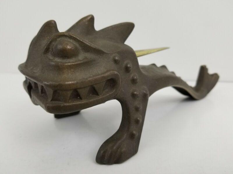 Antique Erhard Sohne German Cast Bronze Ignite Lighter Dragon Serpent Jugendstil