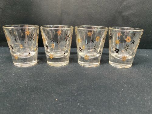 "Set of 4 ~ Federal Shot Glasses ""ATOMIC BURST SNOWFLAKE""  ~ 2 3/8"" Tall"