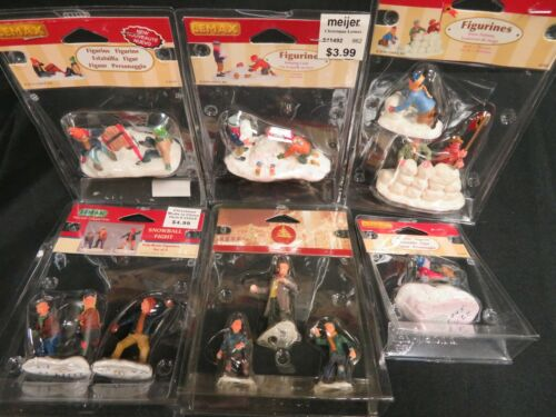 Lot (10) Lemax Assorted Snowball Fight and Sledding Figurines HE244