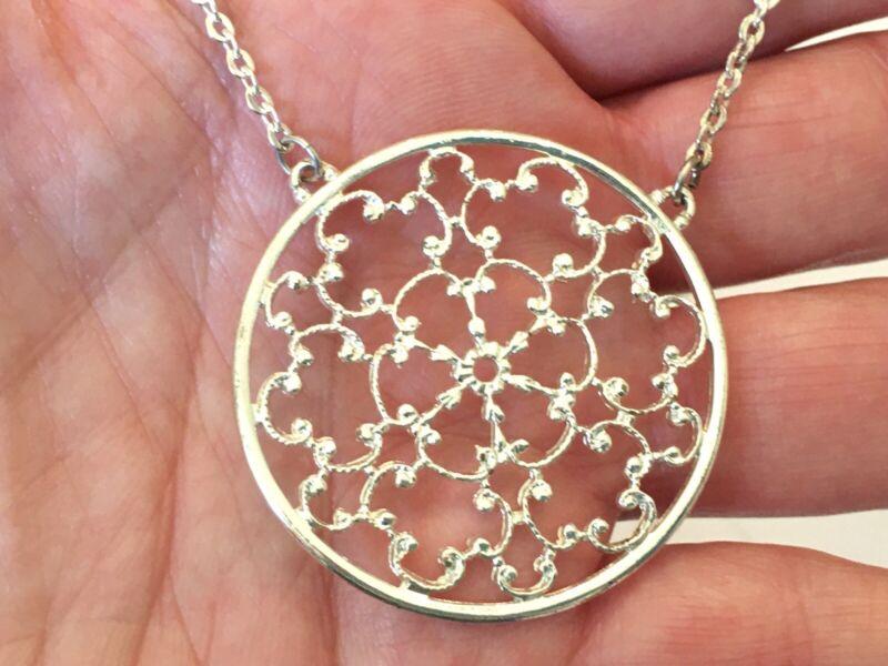 Joan Rivers Silver Tone Filigree Pendant Necklace w/ Extender