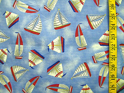 CLASSIC CREATIONS SAILBOATS ON BLUE PRINT 100% COTTON FABRIC BY THE 1/2 YARD